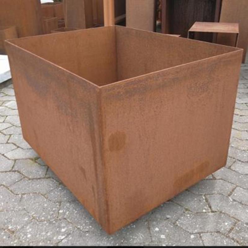 Plantekasse i cortenstål, med hjul, 1000 x 400 x 500 mm(+hjul)