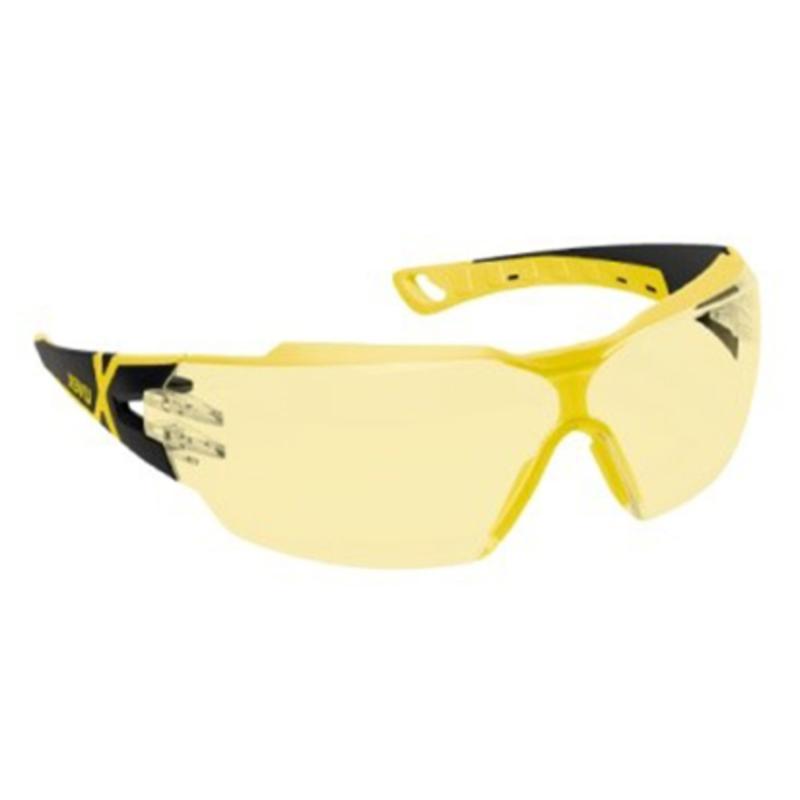 Sikkerhedsbrille, gul linse, antidug og ridsefast, UVEX